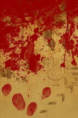Old grungy background in sepia with blood stains photo