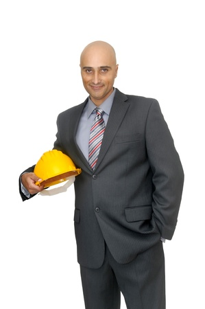 Engineer isolated in white photo