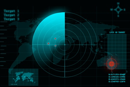 detection: illustration of a blue radar screen Stock Photo