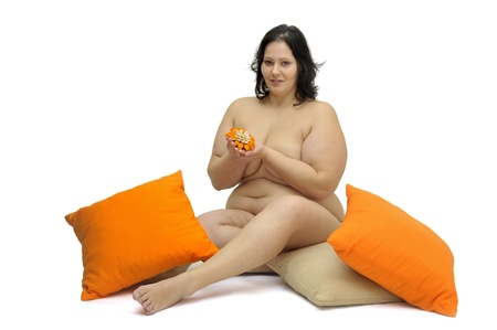 obese woman: Beautiful large girl isolated in white