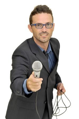 reportero: Hombre de traje con micr�fono