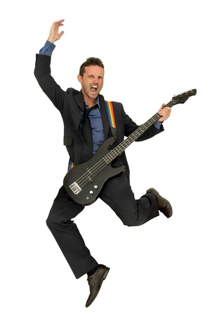 guitarists: Young man in a suit with guitar