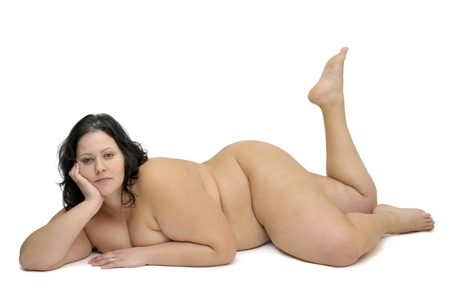 sexy girl nude: Beautiful large girl isolated in white