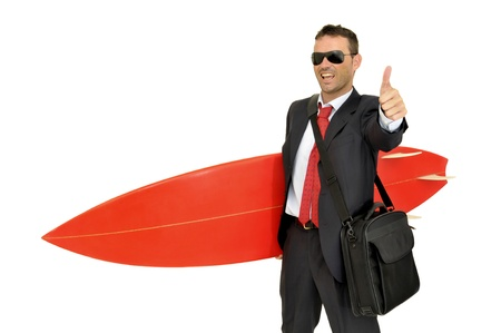 Young businessman with surf board Stock Photo - 9689809
