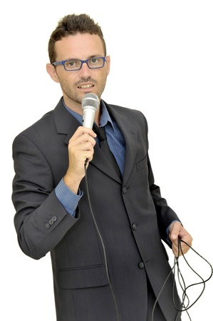 Man in suit with microphone photo