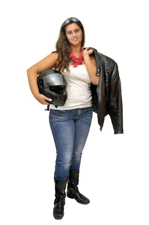 Young girl biker with helmet isolated in white photo