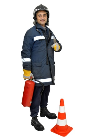 firefighter uniform: Fireman with extinguisher isolated in white Stock Photo