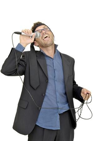 Drunk karaoke singer isolated in white photo