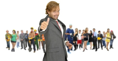 Businessman with crowd or group of different people isolated in white Stock Photo