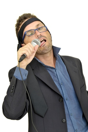 Drunk karaoke singer isolated in white Stock Photo