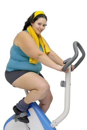 obeso: Chica gran ejercicio aislado en blanco