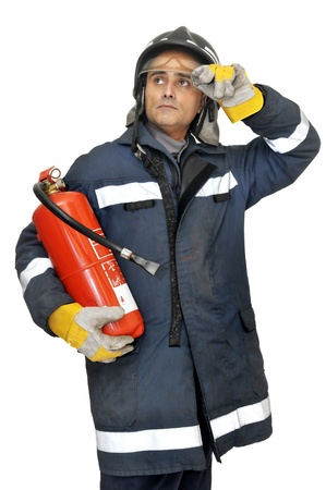 white uniform: Fireman in uniform isolated in white