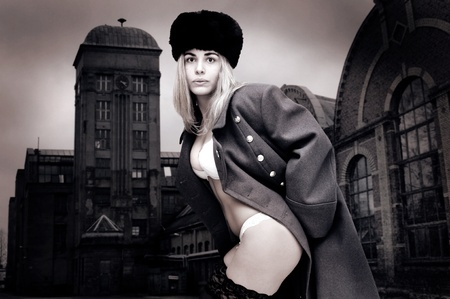 Sexy girl in russian army greatcoat and lingerie  photo
