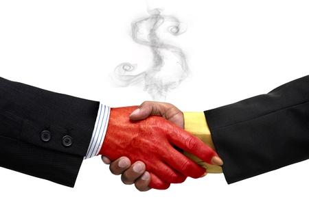 pacto: Hombre de negocios toma un pacto con el diablo