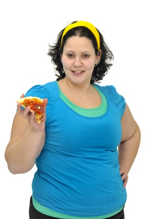 Large girl with a pizza slice isolated in white photo