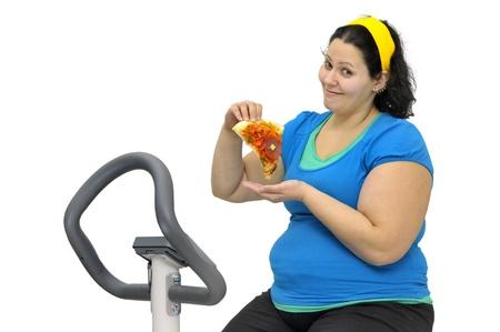 Large girl exercising isolated in white Stock Photo - 10037908