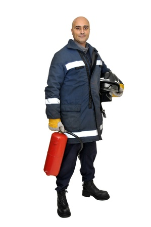 extinguisher: Fireman in uniform isolated in white