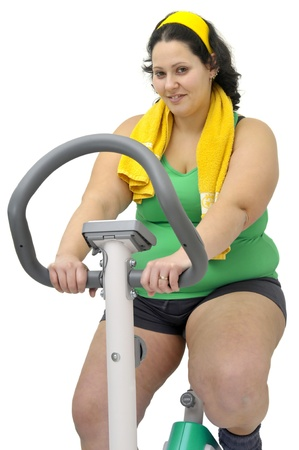 overweight women: Large girl exercising isolated in white Stock Photo