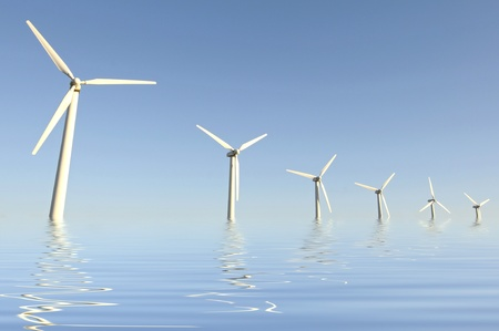 optional: Wind turbines isolated against the sky Stock Photo