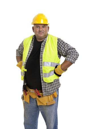 hard worker: Plump construction worker isolated in white