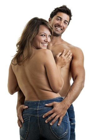 Beautiful fashionable young couple dressed in jeans Stock Photo - 10534174