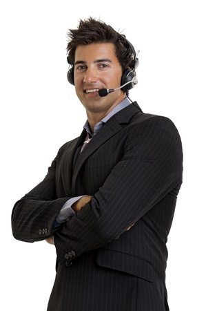 Young salesman isolated in white Stock Photo - 10534167