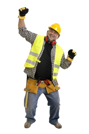 Plump construction worker isolated in white Stock Photo - 10561055