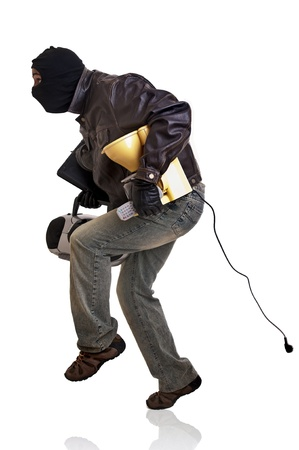 identity thieves: Burglar with goods isolated in white Stock Photo