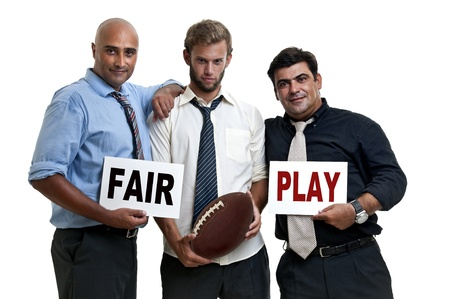 warning fans: Rugby fans with fayr play warning Stock Photo