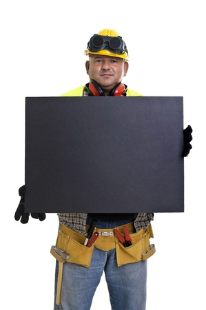 Plump construction worker with black board  isolated in white Stock Photo - 10571777