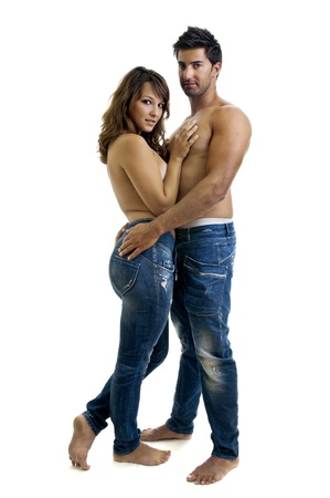 Beautiful fashionable young couple dressed in jeans Stock Photo - 10605625