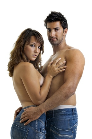 Beautiful fashionable young couple dressed in jeans photo