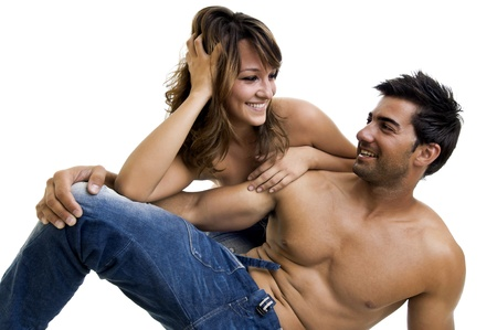Beautiful fashionable young couple dressed in jeans Stock Photo - 10605636