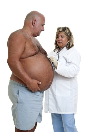 overweight people: Doctor with very fat male patient