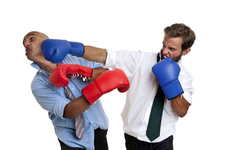 Businessmen boxing isolated in white photo