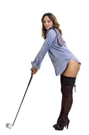 mujer con corbata: Sexy mujer con camisa y corbata y el club de golf