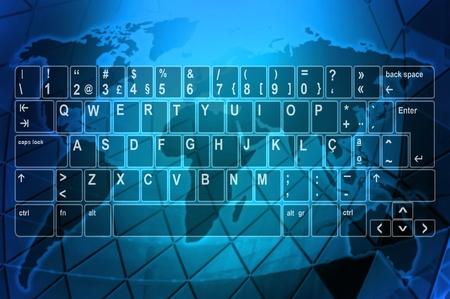 Illustration of a computer keyboard over a world map illustration