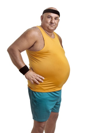 oversize: Large fitness man isolated in white Stock Photo