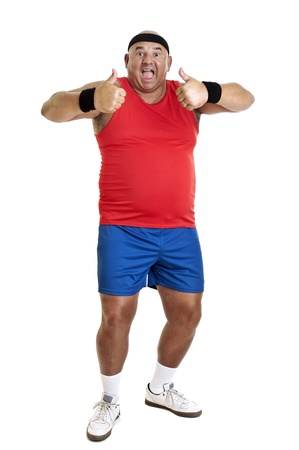 Large fitness man isolated in white Stock Photo