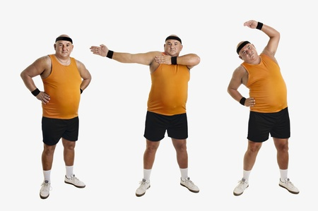 overweight people: Large fitness man doing different exercices isolated in white