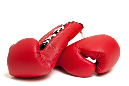 thai arts: Boxing gloves against a white backgroud Stock Photo