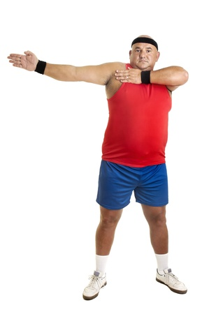 exercices: Large fitness man doing exercices isolated in white