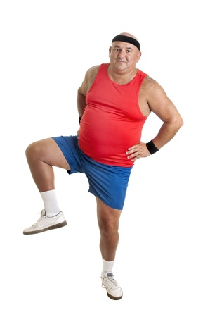 Large fitness man doing exercices isolated in white photo