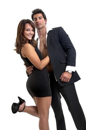 Sexy junge Paar in weiß isoliert