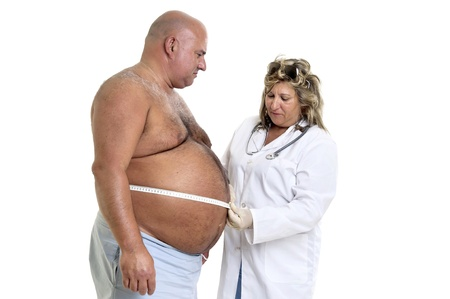 Large male patient with big belly and doctor photo