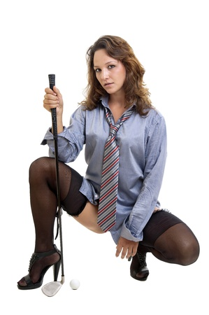 Sexy woman with shirt and tie and golf club photo