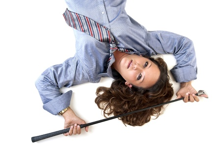 Sexy woman with shirt and tie and golf club Stock Photo - 11268975