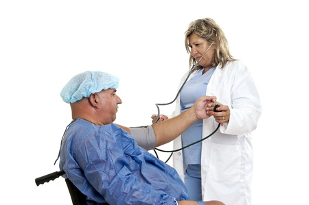 Doctor with very fat male patient photo