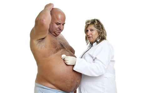 gluttonous: Large male patient with big belly and doctor Stock Photo