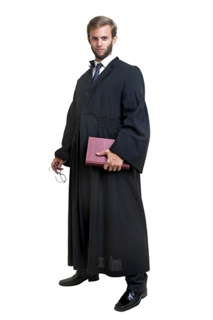 law business: Young lawyer dressed with a toga isolated in white